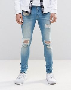 ASOS Extreme Super Skinny Jeans With Mega Rips In Mid Blue