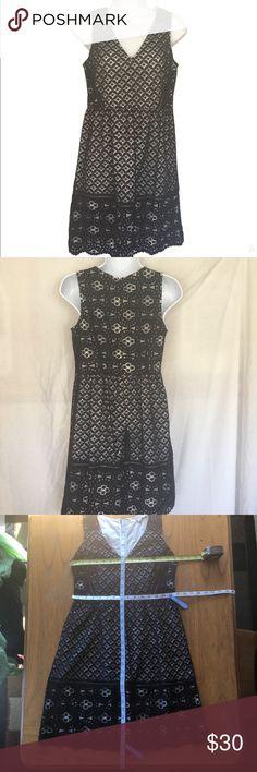 Loft black and white lace dress Loft black and white lace dress  Shell: 75% cotton, 25% nylon  Lining 100% cotton LOFT Dresses