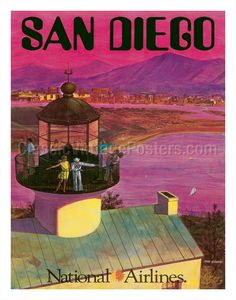 San Diego, USA - Cabrillo Monument Lighthouse - National AirlinesClassicVintagePosters.com