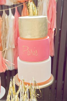 Gorgeous pink and gold cake. Paris party via Kara's Party Ideas KarasPartyIdeas.com