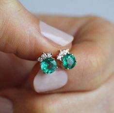 Natural Emerald Earrings in Rose Gold, Emerald Diamond Stud Earrings, Rose Gold Diamond Cluster Earrings - beautiful wedding rings Emerald Earrings, Cluster Earrings, Crystal Earrings, Crystal Jewelry, Silver Earrings, Multiple Earrings, Simple Earrings, Diamond Stud Earrings, Silver Ring