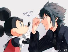 Kingdom Hearts and Final Fantasy 15 Mickey and Noctis
