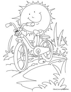 Cartoon racing bicycle against the sun coloring page | Download Free Cartoon racing bicycle against the sun coloring page for kids | Best Coloring Pages