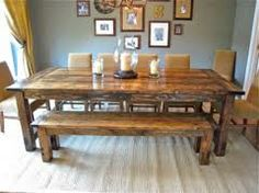 About Farmhouse Dining Table With Bench Decorating Interior With Millions Images As Ideas . Find Farmhouse Dining Table With Bench And Others About Table Here - Interior Home Design Diy Esstisch, Esstisch Design, Farmhouse Dining Room Table, Farmhouse Bench, Modern Farmhouse, Rustic Table, Dining Rooms, Rustic Wood, Vintage Farmhouse