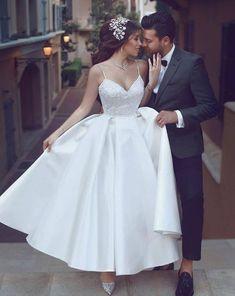 Costbuys Wedding-Dress Spaghetti-Straps Bridal-Gowns Glassy Country Vestidos Elegant Plus-Size Wedding Dress Simple Wedding Gowns, Informal Wedding Dresses, Informal Weddings, Wedding Dresses With Straps, Bridal Dresses, Prom Dresses, Gown Wedding, Wedding Skirt, Camo Wedding