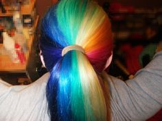 hair, rainbow hair, rainbow, alternate hair color, hair color, hair colors ideas    the crazy things people will do to their hair now!!