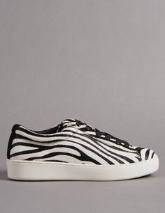 Black & white stripe trainers