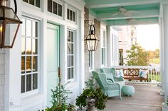 dreamy front porch with aqua blue door + ceiling
