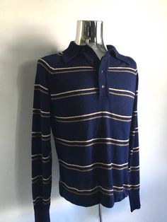 Vintage Men's 70's Sweater, Acrylic, Navy Blue, Striped by Lord Jeff (M) by Freshandswanky on Etsy