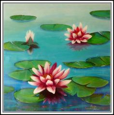 WATER LILIES high gloss #painting by Ronald Brown | $240 available to buy at www.bluethumb.com.au/brewman | #flower #acrylic #art