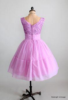Vintage 1950s Dress  50s Lilac Ribbon Chiffon by RaleighVintage, $178.00