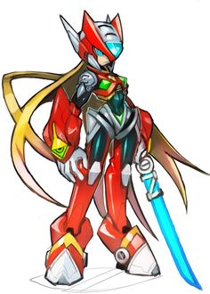 Mega Man, Game Character, Character Design, Maverick Hunter, Keiji Inafune, Megaman Zero, Megaman Series, Pixel Animation, Video Game Art