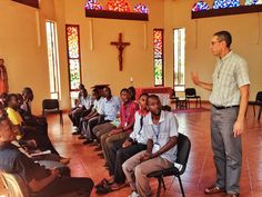Fr. Michael Mathews, C.S.C. welcomes new postulants in Uganda.