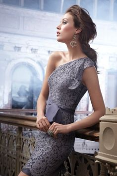 Gorgeous graphite lace bridesmaid dress from Noir by Lazaro