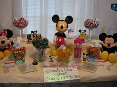Mickey Mouse Candy Buffet: Here are some different candy buffets submitted to our site.  They are all uniquely different and just as cute.  You can easily coordinate any baby shower