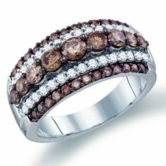 LOVE THIS RING !!!!  Brown Chocolate Diamond Ring Fashion Band 10k Yellow Gold (1.59 ct.tw.):