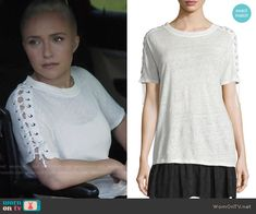 Juliette's white tee with lace-up sleeves on Nashville.  Outfit Details: https://wornontv.net/64050/ #Nashville