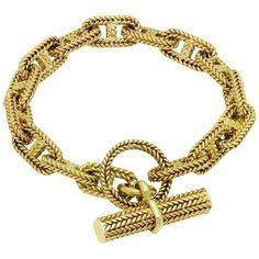 1960s Hermes Chain D'Ancre Gold Bracelet   From a unique collection of vintage link bracelets at https://www.1stdibs.com/jewelry/bracelets/link-bracelets/