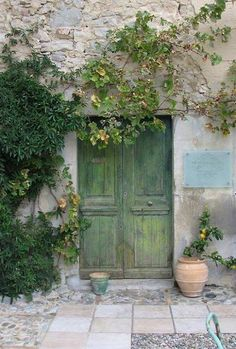 Beautiful Simplicity in Green Door & Landscape | { #landscape #beautiful