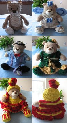 4 Bear Costumes Crochet Pattern and 16inch by DonnasCrochetDesigns, $8.99