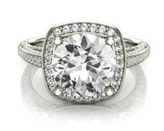 Vintage diamond halo ring VR1029. 2.75 carat ring from Bespoke Diamonds Jewellers Dublin.