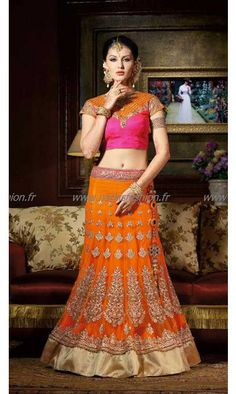 #Designer #Lehenga Nadiya Orange #SoExclusive 145€ taille 34 à 44 #Sari #Robe #Indienne #Mariage #Wedding