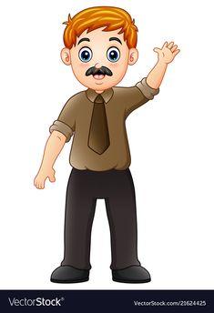 Cartoon businessman waving hand vector image on VectorStock Preschool Family Theme, Preschool Classroom, Preschool Crafts, Old Lady Cartoon, Alice In Wonderland Cross Stitch, Family Clipart, English Games, School Clipart, Family Illustration