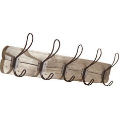 Hold coats, hats, and scarves in farmhouse style with this barn-inspired wall rack, featuring a knotted wood mount and 5 double hooks.