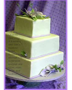 Not my taste color wise, but a gorgeous design. Beautiful Cakes, Amazing Cakes, Calla Lillies Wedding, Modern Cakes, Wedding Cake Inspiration, Wedding Ideas, Party Catering, Lilac Color, Purple