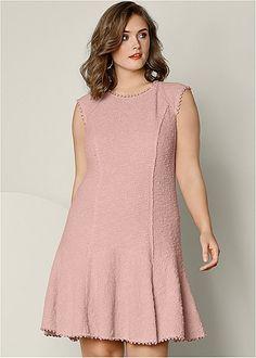 Peach Textured Flare Dress    VENUS pompoms