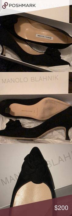 Manolo Blahnik New in box Suede Heels Camel is Black Suede. New in box! Beautiful timeless shoes have never been worn outside. Fits size 8 foot perfectly. With super feminine suede flowers on the pointed toe. Fashionable kitten heel. Hand made in Italy. Manolo Blahnik Shoes Heels #manoloblahnikheelsbeautiful #manoloblahnikheelsfashion