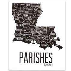 Louisiana Parishes Print - The Grove Street Press Louisiana New Orleans, Louisiana History, Louisiana Homes, Louisiana Art, Louisiana Tattoo, Louisiana Creole, Houma Louisiana, Louisiana Crawfish, Louisiana Kitchen