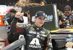 Jeff Gordon celebrates his win of the 2014 Pure Michigan 400 at Michigan International Speedway.