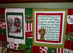 My mom made a Grinch Quilt!