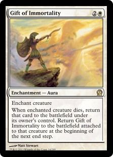 Another fun card of mine. It keeps bringing back your creature when it dies and if it has an effect when it enters the battlefield (i.e. game), you get that effect again and again and again... you get the drift... and if I can abuse said effect, well I will