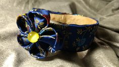 Oriental kanzashi flower hair clip on wide headband with matching fabric. From Take A Bow Amsterdam.  Made in Amsterdam. 2017 Jan, new!