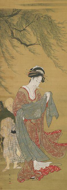 A Courtesan tying her sash in the wind 18th-19th century  Katsukawa Shun'ei , (Japanese, 1762-1819) Edo period