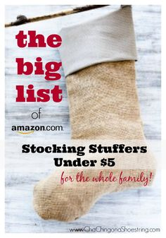 Last minute shoppers - don't leave home!  Check out this BIG list of Stocking Stuffers Under $5 for the Whole Family on Amazon.  Get it in time for Christmas with Amazon Prime if you order by midnight on 12/22!