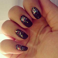 Matte black with confetti glitter nails