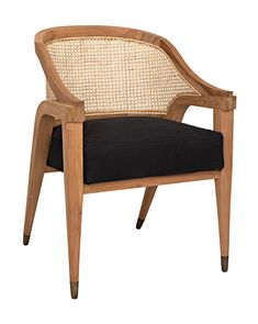 Our Chloe Cane Back Chair from Noir is a modern take on a classic design. This versatile teak arm chair has a black cotton cushion for a modern vibe. Retro Dining Chairs, Dining Arm Chair, Modern Chairs, Swivel Chair, Modern Armchair, Black Dining Room Chairs, Wood Arm Chair, Antique Chairs, Dining Tables
