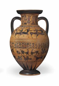AN ATTIC BLACK-FIGURED TYRRHENIAN AMPHORA -  ATTRIBUTED TO THE CASTELLANI PAINTER, CIRCA 550 B.C.