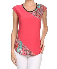 Look at this #zulilyfind! Coral Paisley Scoop Neck Top by One Fashion #zulilyfinds