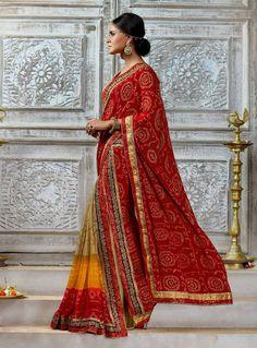 Red satin chiffon Kutchhi bandhni print party wear saree