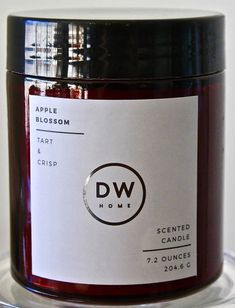 DW HOME CANDLE APPLE BLOSSOM RED GLASS BALL TART SOY WAX 1 WICK 7.22OZ ULM7014 #DWHOMECANDLE