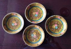 Japanese Vintage Paper Mache Hand Painted Coaster Set of 4 Shabby Chic | eBay