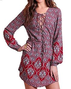 1dbaf0a3851 2017 Newest Women Summer Print Dress Sexy Lace up V Neck Long Sleeve Beach  Party Dresses Casual Bohemian Belted Short Vestidos