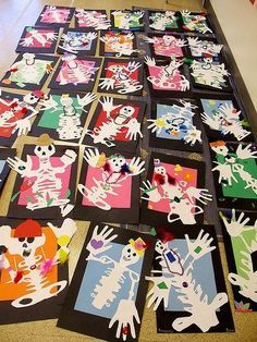 Name Skeletons: Art for Dia de Los Muertos / Day of the Dead, calaveras or could do for halloween Halloween Kunst, Halloween Art Projects, Theme Halloween, Fall Art Projects, Halloween Activities, Art Activities, Halloween Costumes, Halloween Halloween, Vintage Halloween
