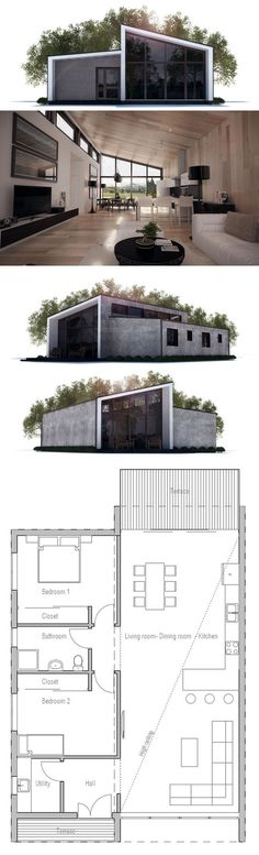 Two bedrooms house plan from ConceptHome.com. I love light! Modern or…