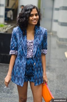 Tania, in Mumbai, had a local tailor sew this ikat (a traditional Indian fabric) pantsuit Fashion Street Mumbai, Street Style India, Indian Fashion Trends, Trendy Fashion, Fashion Outfits, Style Fashion, Fashion Ideas, Ladies Fashion, Fashion Clothes