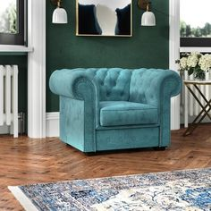 Chesterfield Chair Astoria Grand Colour: Turquoise